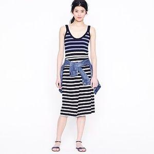 J. Crew Kari Stripe Dress Midi Sundress Knit Blue